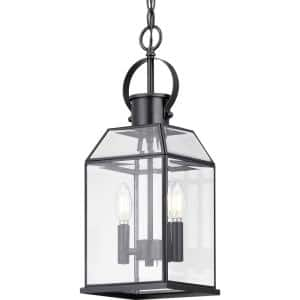 Canton Heights 2-Light Matte Black Outdoor Pendant Light with Clear Beveled Glass