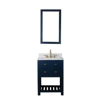 Madalyn 24 in. W Bath Vanity in Monarch Blue with Marble Vanity Top in Carrara White with White Basin(s)
