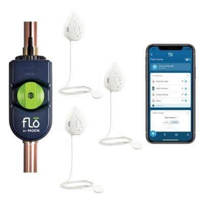 Flo by Moen 1 in. Smart Water Leak Detector with Automatic Water Shutoff Valve with Smart Water Detector (3-Pack)