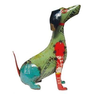 24 in. Handcrafted Recycled Iron Dagwood Dog Garden Statue