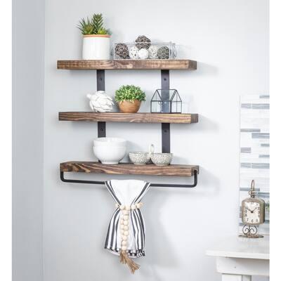 Industrial Grace 5.5in x 24in x 20in Dark Walnut Pine Wood Three-Tier with Towel Bar Decorative Wall Shelf with Brackets