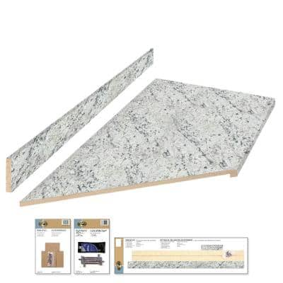 8 ft. Cream Laminate Countertop Kit With Left Miter and Full Wrap Ogee Edge in White Ice Granite Etchings