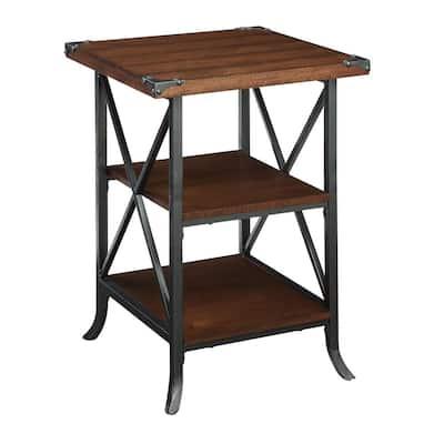 Brookline Dark Walnut Grooved Top End Table