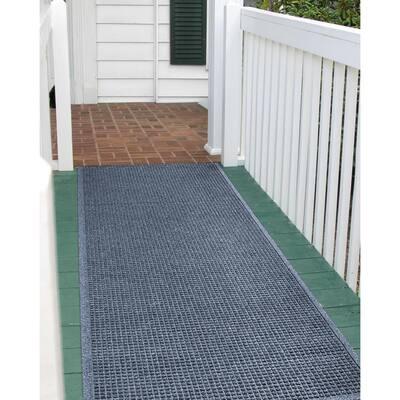 Squares 36 in. x 108 in. PET Polyester Door Mat Bluestone