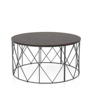 Mannis 35.38 in. Walnut and Black Round Wood Top Coffee Table