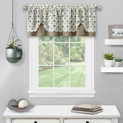 Callie 14 in. L Polyester Window Curtain Valance in Taupe/Silver