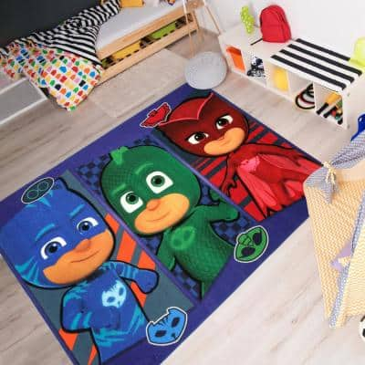 PJ Masks Patch Multi-Colored 5 ft. x 7 ft. Indoor Polyester Area Rug