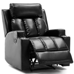 Black Heavy Duty Home Manual Overstuffed Recliner Sofa Chair