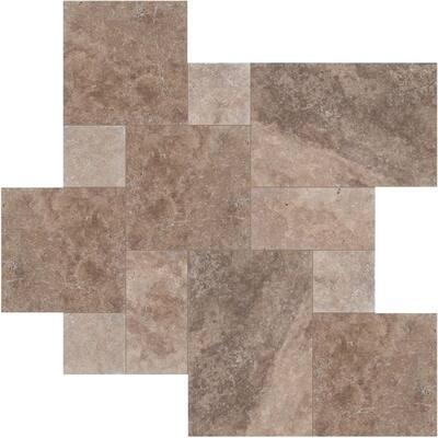 Mediterranean Pattern Walnut Tumbled Travertine Paver Kits (30 Kits/480 sq. ft./Pallet)