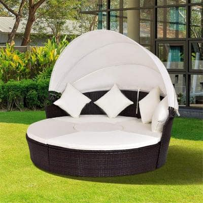 Brown 1-Piece Wicker Outdoor Sofa Recliner with Sunbrella White Foam Cushions