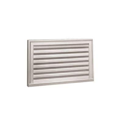 32 in. x 16 in. Decorative Rectangular White Polyurethane Weather Resistant Gable Louver Vent