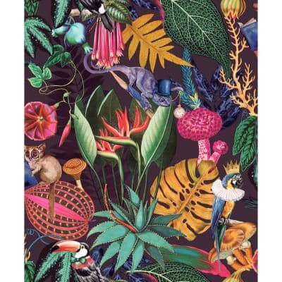 "Plum ""A Tropical Soiree"" Wallpaper / Botanical Wallpaper / Tropical Wallpaper / Removable Double Roll Wallpaper"