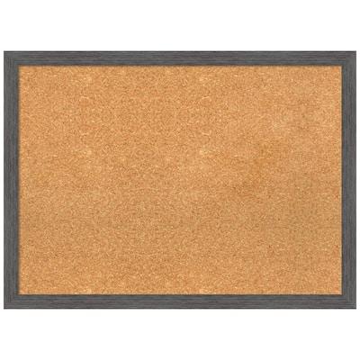 Pinstripe Plank Grey 29.88 in. x 21.88 in. Framed Corkboard Memo Board