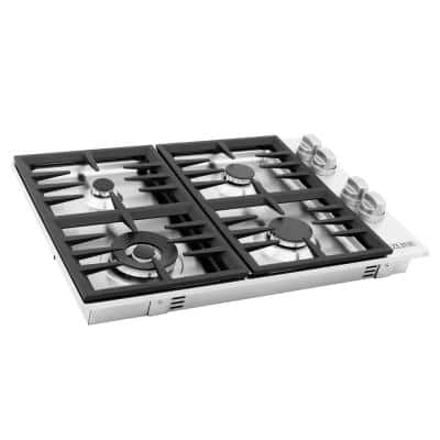 30 in. Dropin Gas Stovetop in Stainless Steel with 4 Burners
