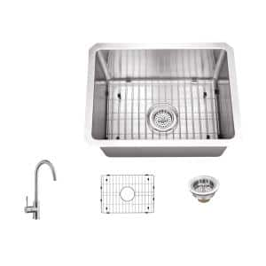 16 Gauge Stainless Steel 15 in. Undermount Radius Bar Sink with Gooseneck Faucet and Accessories
