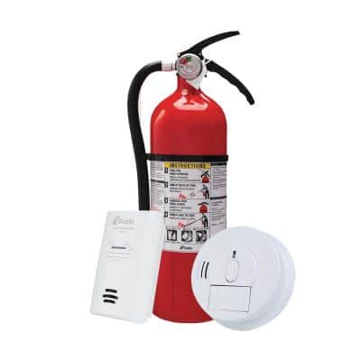 Home Fire Safety Kit, Hardwired Smoke Detector with Plug-In CO Detector & Full Home Fire Extinguisher