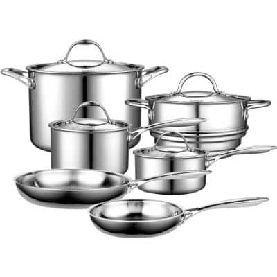 Multi-Ply Clad 10-Piece Stainless Steel Nonstick Cookware Set
