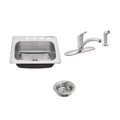 Colony All-in-One Drop-In Stainless Steel 25 in. 4-Hole Single Bowl Kitchen Sink with Faucet in Stainless Steel