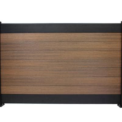 Euro Style 4 ft. x 6 ft. Black Top King Cedar Aluminum/Composite Horizontal Fence Panel