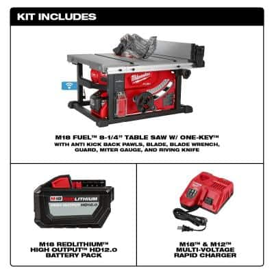 M18 FUEL ONE-KEY 18- volt Lithium-Ion Brushless Cordless 8-1/4 in. Table Saw Kit W/ (1) 12.0Ah Battery & Rapid Charger