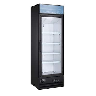 25 in. W 13 cu. ft. One Glass Door Commercial Merchandiser Refrigerator Reach In in Black