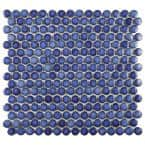 Hudson Penny Round Glossy Sapphire 12 in. x 12 in. Porcelain Mos (10.74 sq. ft. / Case)