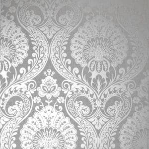 Luxe Damask Vinyl Non-Pasted Wallpaper Roll (Covers 56 Sq. Ft.)