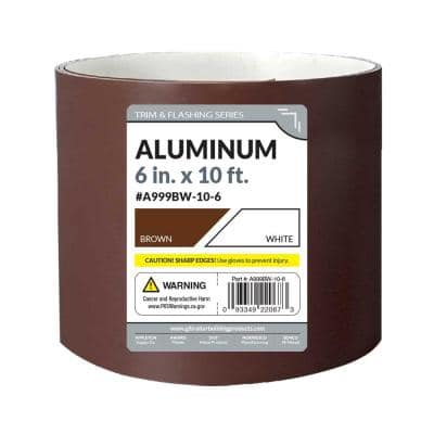 6 in. x 10 ft. Brown/White Aluminum Roll Valley Flashing