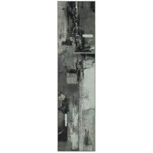 Fusion Grey 2 ft. x 5 ft. Abstract Runner Rug