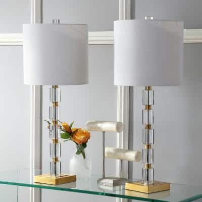 Claire 28.5 in. Crystal Table Lamp, Clear/Brass (Set of 2)
