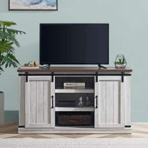 54 in. Saw Cut Off-White Engineered Wood TV Stand Fits TVs Up to 60 in. with Storage Doors