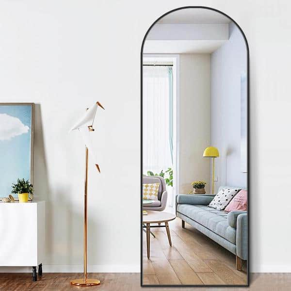 Pexfix 65 In X 22 Modern Arched, Full Length Mirror Black Metal Frame