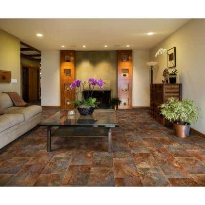 Rustic Rectangular Slate Clay Stone Residential Vinyl Sheet Flooring 12ft. Wide x Cut to Length