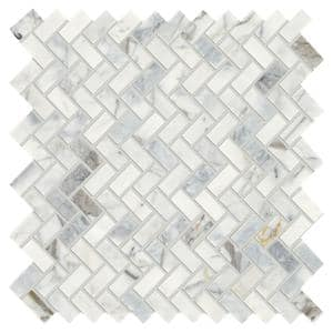 Stone Decor Fog 11 in. x 12 in. x 10 mm Marble Mosaic Floor and Wall Tile (0.83 sq. ft./Each)