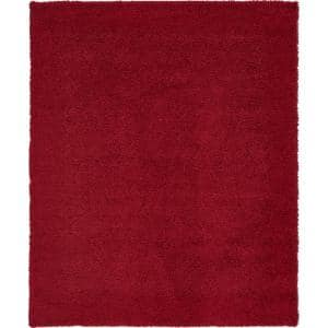 Solid Shag Cherry Red 8 ft. x 10 ft. Area Rug