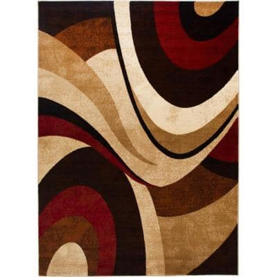 Tribeca Brown/Red 9 ft. x 12 ft. Indoor Area Rug