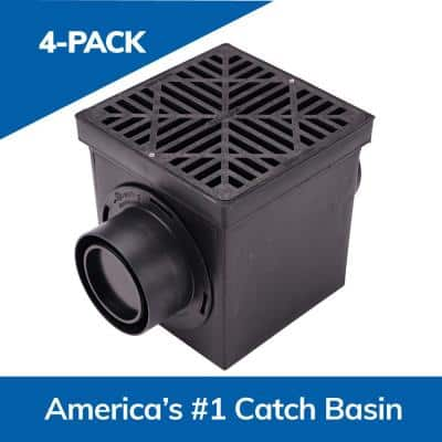 9 in. Square Catch Basin Drain Kit 2-Opening Basin, Black Plastic Grate, 2 Outlet Adapters and 1 Outlet Plug (4-Pack)