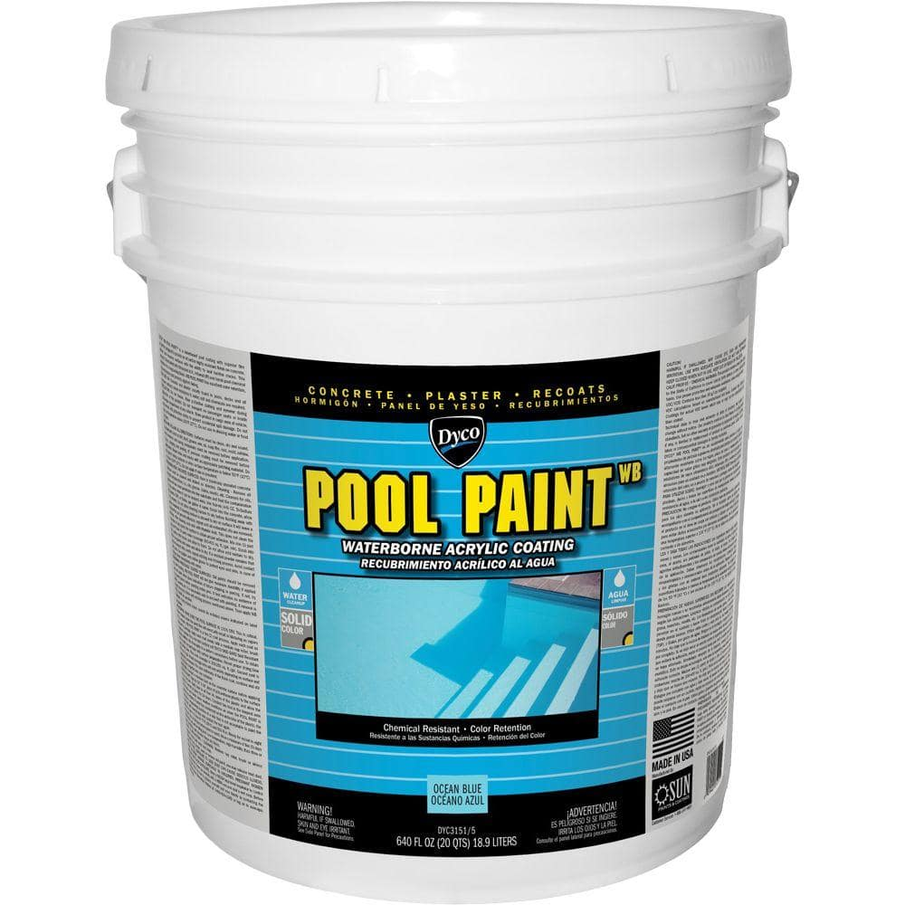 Dyco Pool Paint 5 Gal 3151 Ocean Blue Semi Gloss Acrylic Exterior Paint Dyc3151 5 The Home Depot