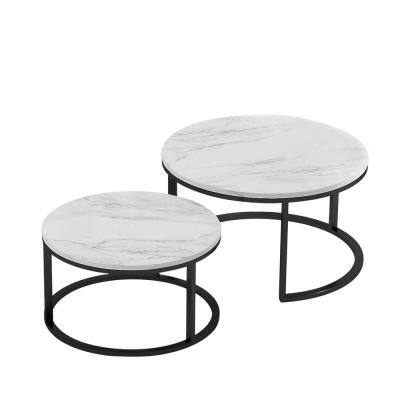 31.5 in LModern Nesting Coffee TableBlack Metal Frame with Marble Color Top