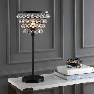 Buckingham 25 in. Bronze/Clear Crystal/Metal Table Lamp