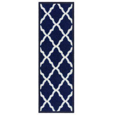 Glamour Collection Moroccan Trellis Design Blue 9 in. x 26 in. Polypropylene Stair Tread Cover (Set of 7)