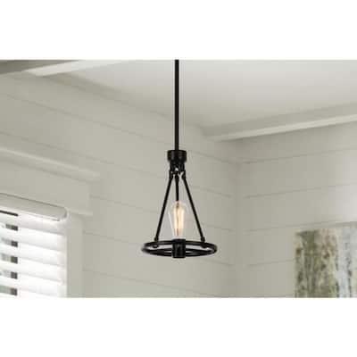 Stratton 1-Light Black Mini Pendant with No Shade