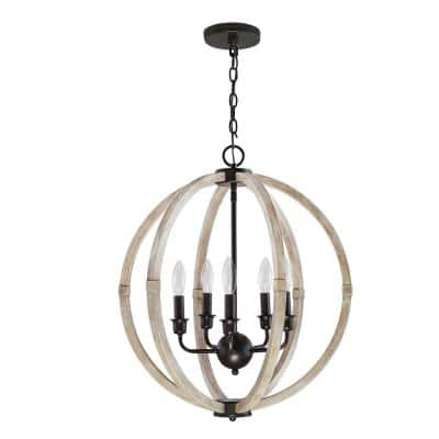 20.13 in. 5-Light Faux Wood Chandelier with Metal Accents