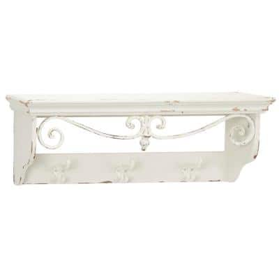 Small Rectangular Distressed White Wood Wall Shelf with Hook Rack and Iron Scrollwork