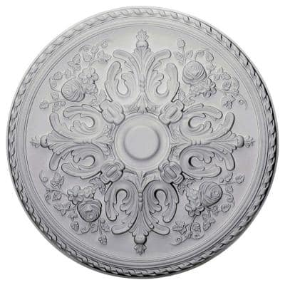 """32-5/8"""" x 2"""" Bradford Urethane Ceiling Medallion (Fits Canopies up to 6-5/8""""), Primed White"""