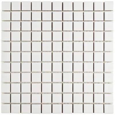Metro Square Matte White 11-3/4 in. x 11-3/4 in. Porcelain Mosaic Tile (10.72 sq. ft./Case)