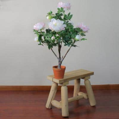 36 in. Peony Flower Potted Light Peach and Pink Artificial Blooming Plant