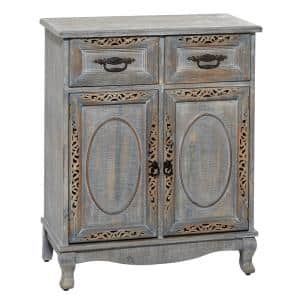 2-Drawers Grey Distressed 2-Door Wood Carved Cabinet With Black Metal Fixtures 27 in. x 33 in.