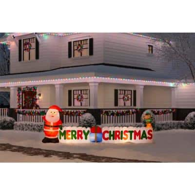 12 ft Giant-Sized LEF Inflatable Merry Christmas Sign Scene