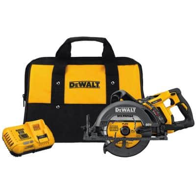 FLEXVOLT 60-Volt MAX Lithium-Ion Cordless Brushless 7-1/4 in. Wormdrive Style Circ Saw w/ Battery 2Ah, Charger and Bag
